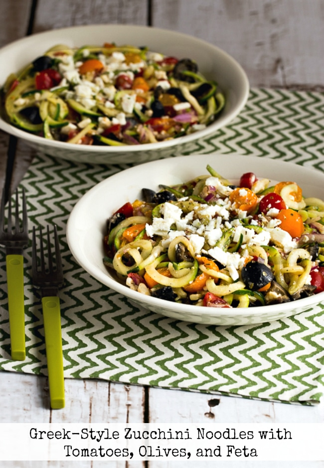 Greek-Style Zucchini Noodles with Tomatoes, Olives, and Feta found on KalynsKitchen.com