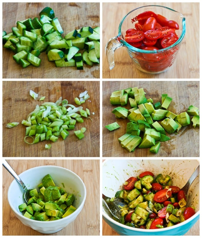 Not-so-Dumb Salad with Cucumber, Tomato, and Avocado process shots collage