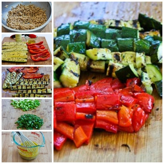 Whole Wheat Orzo and Grilled Vegetable Salad with Feta, Olives, and Herbs found on KalynsKitchen.com