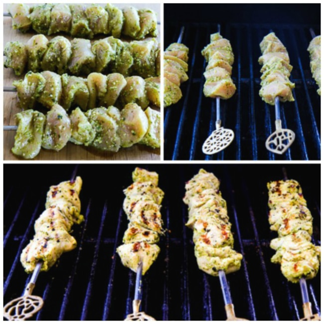 Cooking the chicken collage photo for Ultra Easy Pesto Lemon Chicken Kabobs