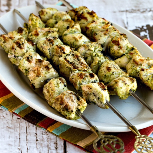 Thumbnail photo for Ultra Easy Pesto-Lemon Chicken Kabobs