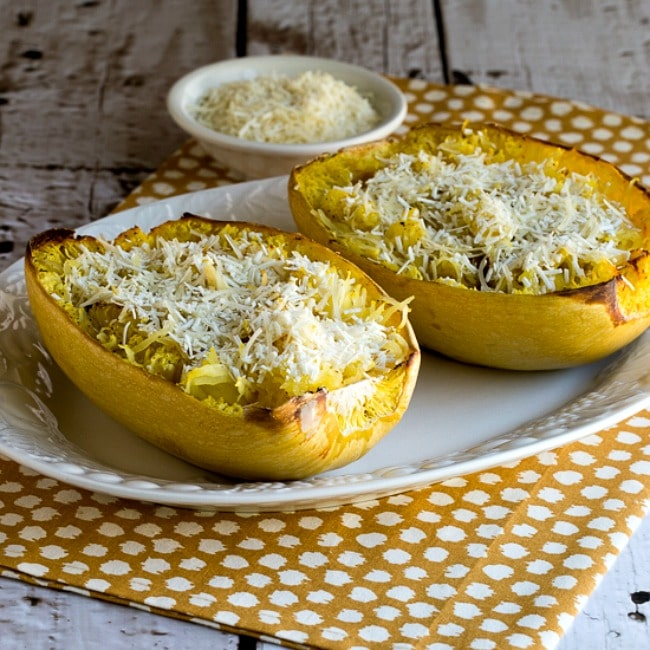 thumbnail photo for Title photo for Roasted Spaghetti Squash with Mizithra Cheese and Browned Butter