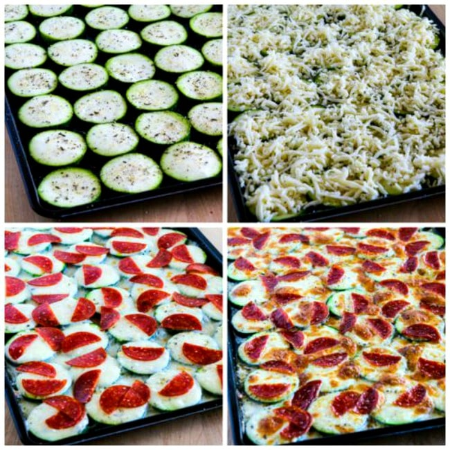 Process photos for Val's Kid-Friendly Broiled Zucchini with Mozzarella and Pepperoni