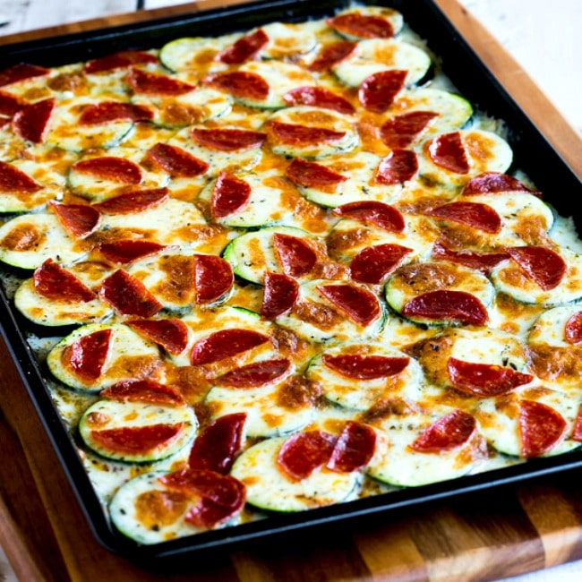Thumbnail photo for for Val's Kid-Friendly Broiled Zucchini with Mozzarella and Pepperoni
