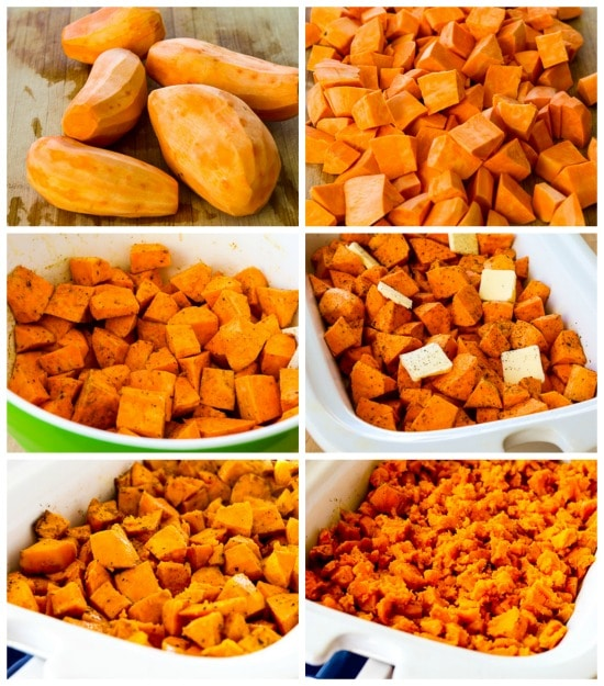 Spicy CrockPot Sweet Potatoes process shots collage