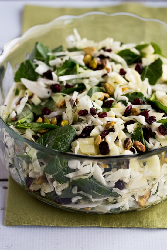 Cabbage, Apple, and Kale Salad with Cranberries and Pistachios found on KalynsKitchen.com