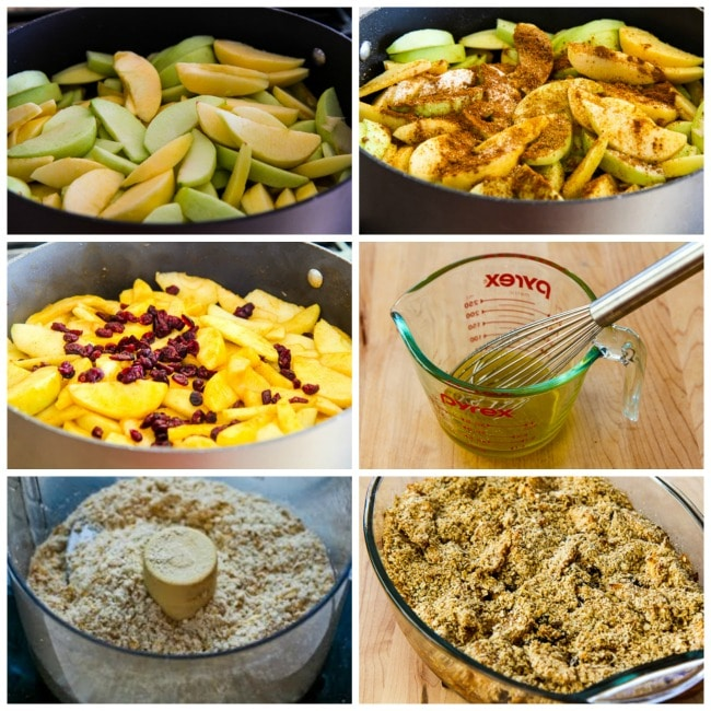 Low-Sugar and Gluten-Free Cranberry Apple Crumble process shots collage