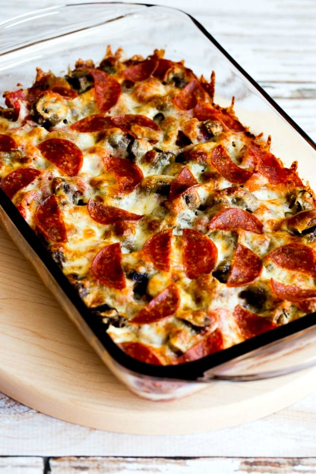 Close-up photo Low-Carb Deconstructed Pizza Casserole