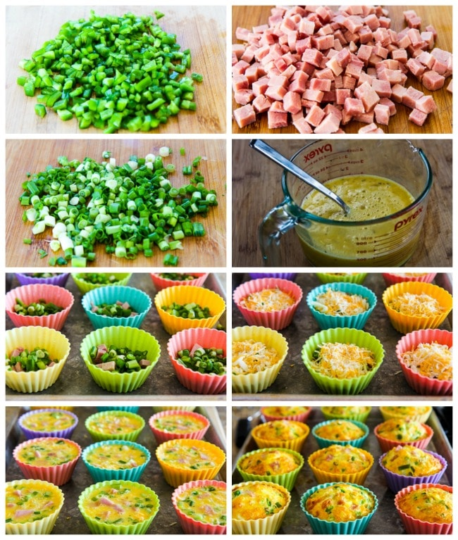 Low-Carb Egg Muffins with Ham, Cheese, and Green Bell Pepper process shots collage