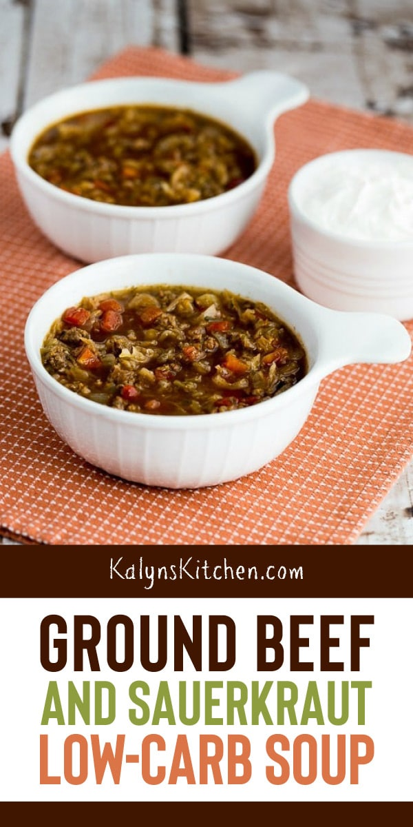 Pinterest image of Ground Beef and Sauerkraut Low-Carb Soup