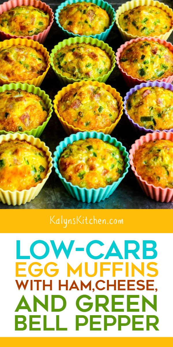 Pinterest image of Low-Carb Egg Muffins with Ham, Cheese, and Green Bell Pepper