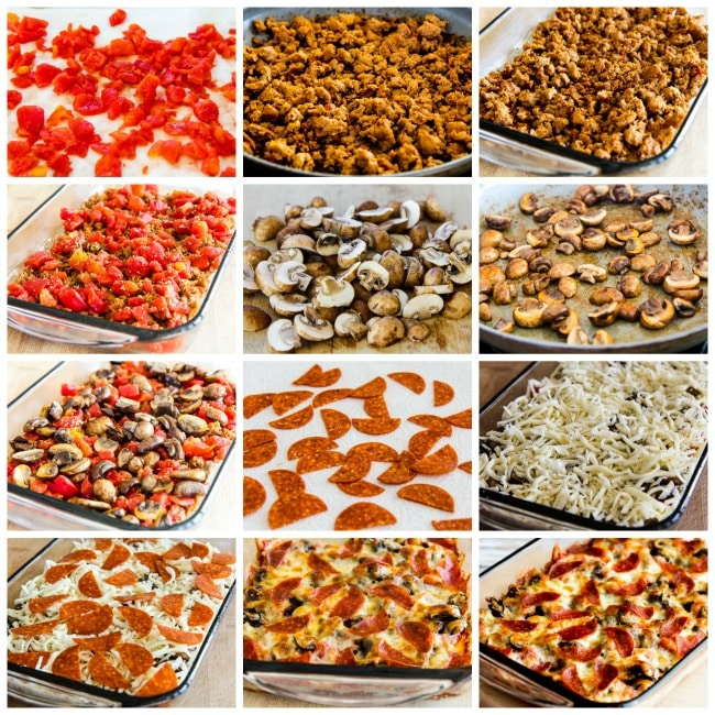 Process shots collage photo for Low-Carb Deconstructed Pizza Casserole