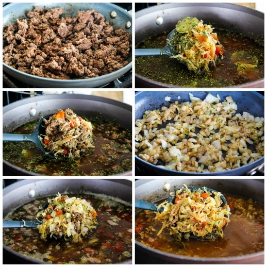 Ground Beef and Sauerkraut Low-Carb Soup process shots collage