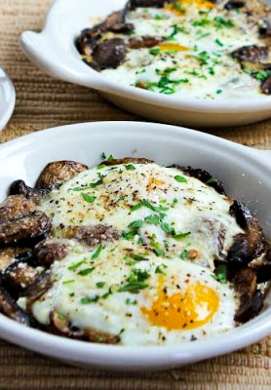 Baked Eggs With Mushrooms And Parmesan Kalyn S Kitchen