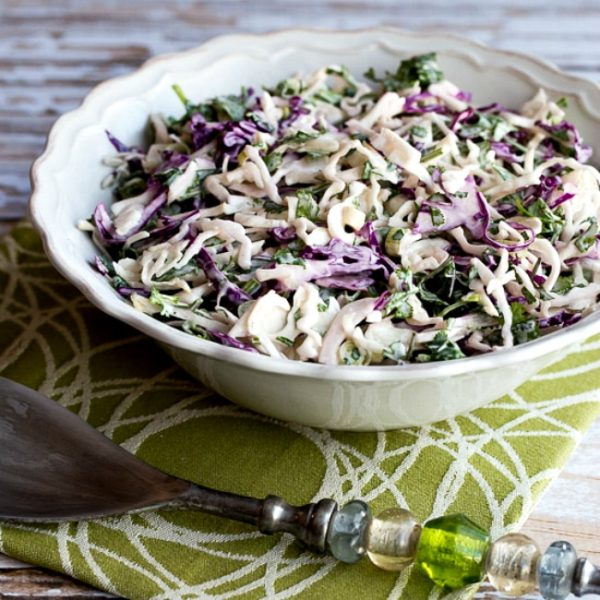 Low-Carb Spicy Mexican Slaw with Lime and Cilantro found on KalynsKitchen.com