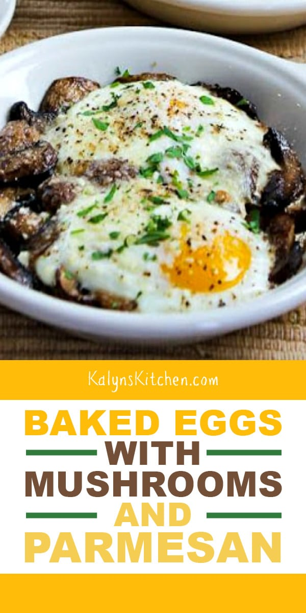 Pinterest image of Baked Eggs with Mushrooms and Parmesan