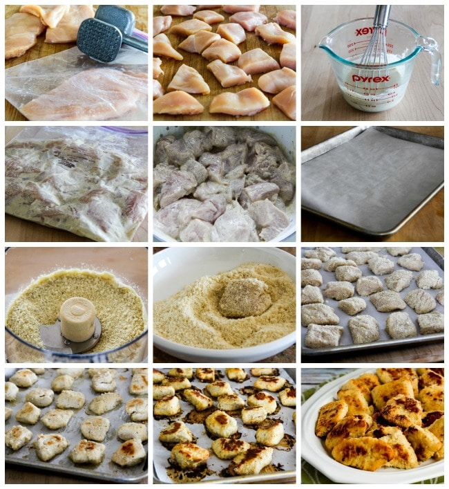 Low-Carb Baked Chicken Nuggets process shots collage