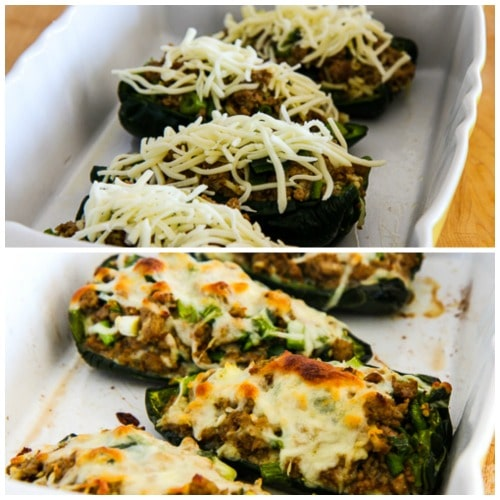 Cheesy Stuffed Poblanos with Ground Turkey found on KalynsKitchen.com