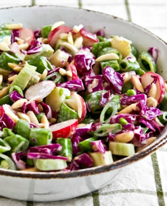 Low-Carb Asian Chopped Salad (with broccoli stems!) found on KalynsKitchen.com