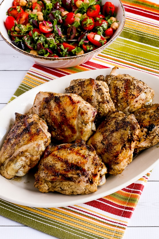 Grilled Chicken Thighs with Lemon and Za'atar found on KalynsKitchen.com