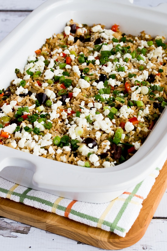 Slow Cooker Greek Rice with Red Bell Pepper, Feta, and Kalamata Olives found on KalynsKitchen.com