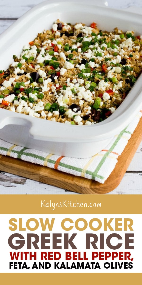 Pinterest image of Slow Cooker Greek Rice with Red Bell Pepper, Feta, and Kalamata Olives