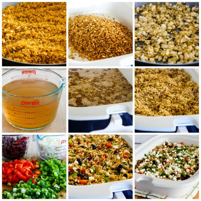 Slow Cooker Greek Rice process shots collage