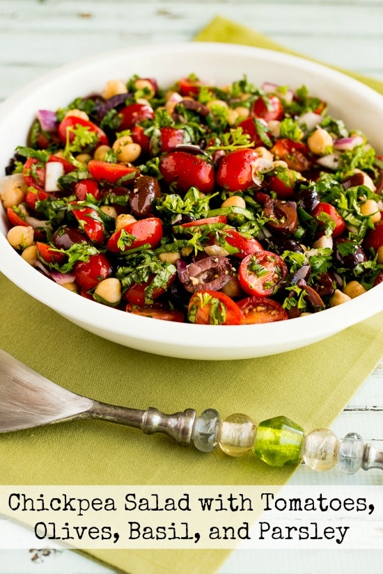 Chickpea Garbanzo Bean Salad With Tomatoes Olives Basil And Parsley