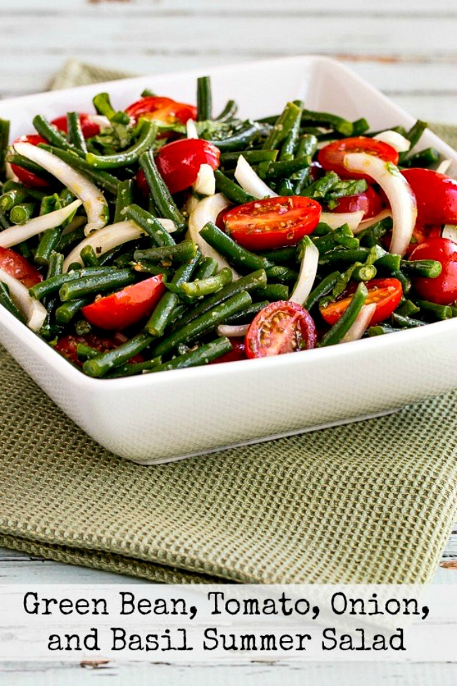 Green Bean and Tomato Salad photo of finished salad in serving bowl