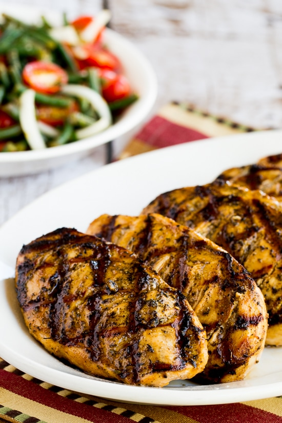 Savory Low-Carb Marinade for Grilled Chicken, Pork, or Beef found on KalynsKitchen.com
