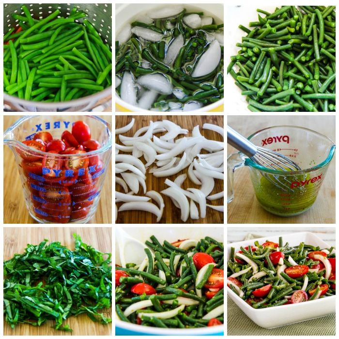 Green Bean and Tomato Salad process shots collage