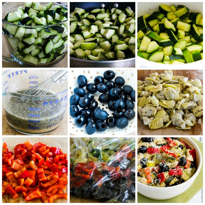 Marinated Zucchini Salad with Olives, Artichokes, and Red Pepper process shots collage