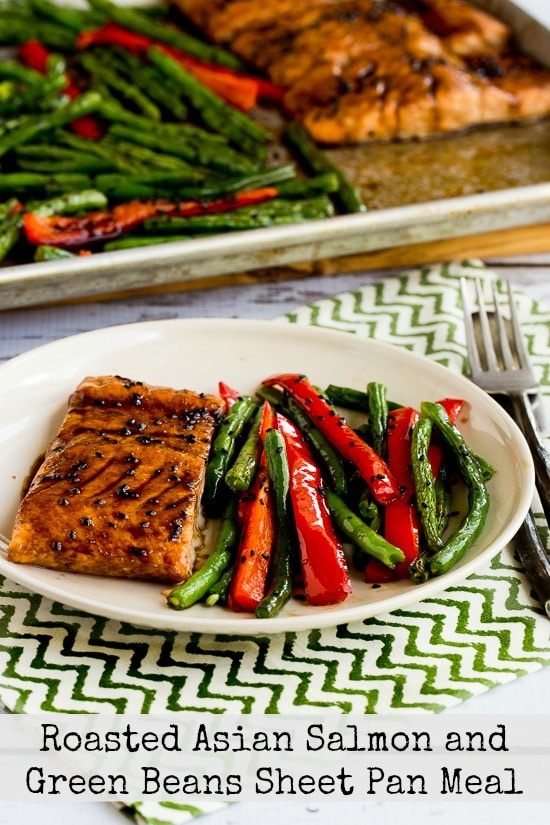 Roasted Asian Salmon and Green Beans Sheet Pan Meal found on KalynsKitchen.com