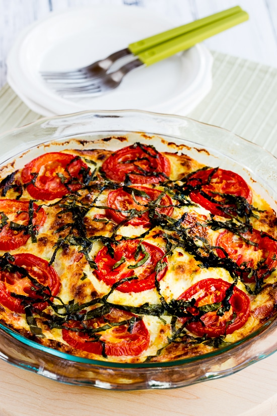 Crustless Three-Cheese Tomato-Basil Quiche found on KalynsKitchen.com