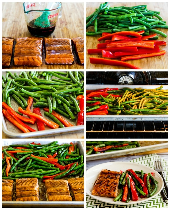 Roasted Asian Salmon and Green Beans Sheet Pan Meal process shots collage
