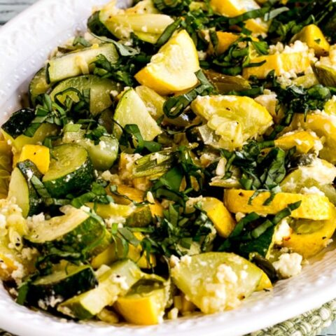 Roasted Summer Squash with Feta Cheese and Basil close-up photo