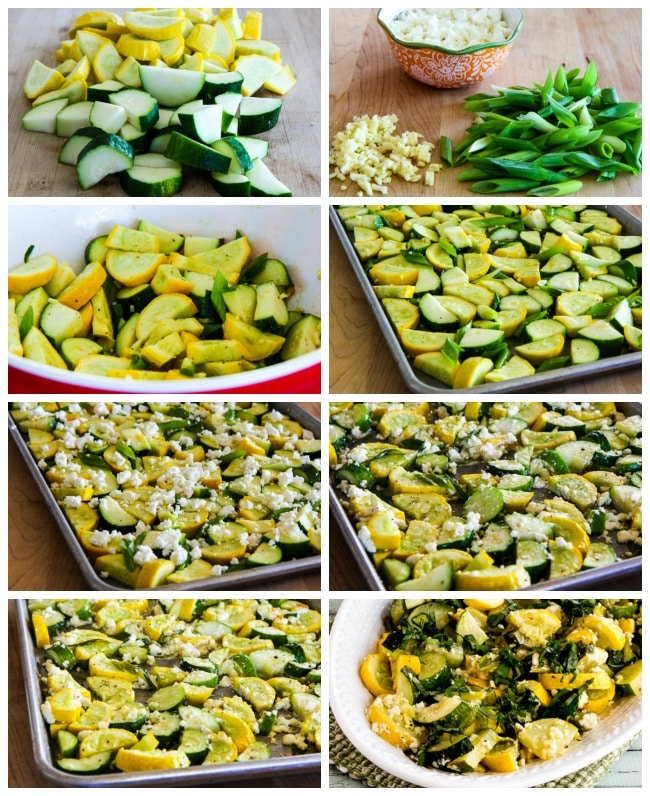 Roasted Summer Squash with Feta Cheese and Basil process shots collage