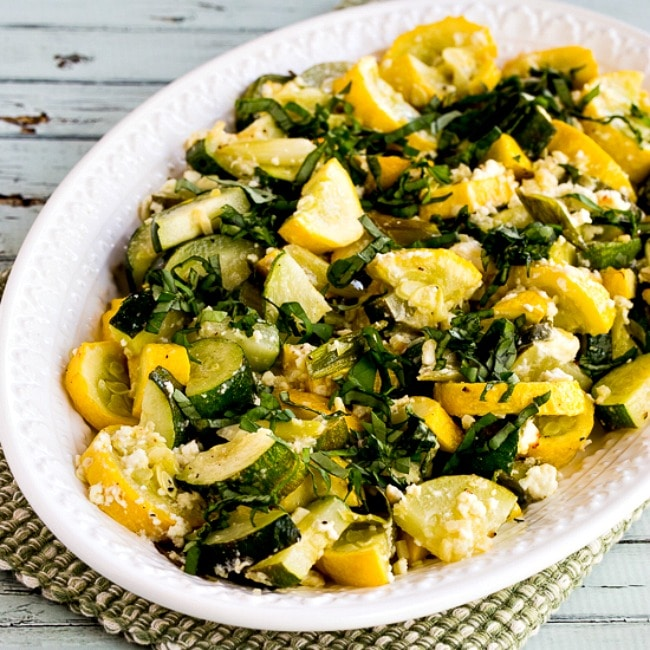 Roasted Summer Squash with Feta Cheese and Basil square image of finished dish