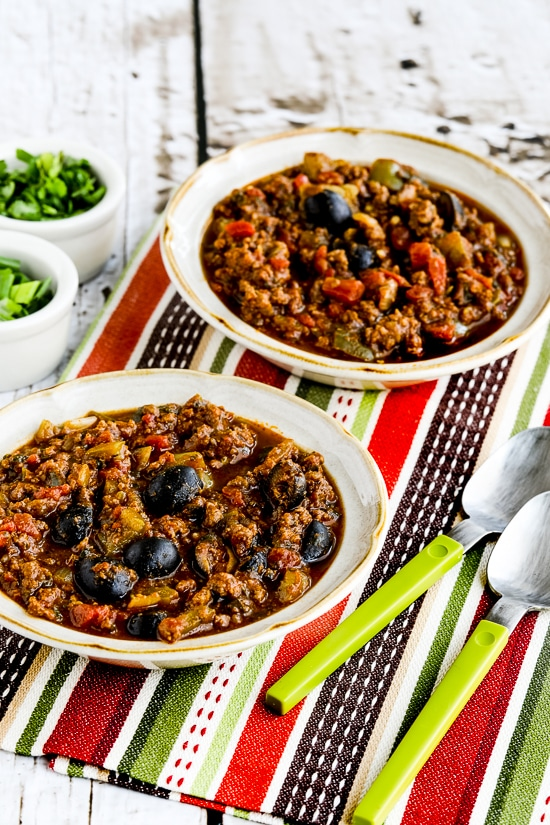 Pumpkin Chili With Beef Peppers And Olives Video Kalyn S Kitchen