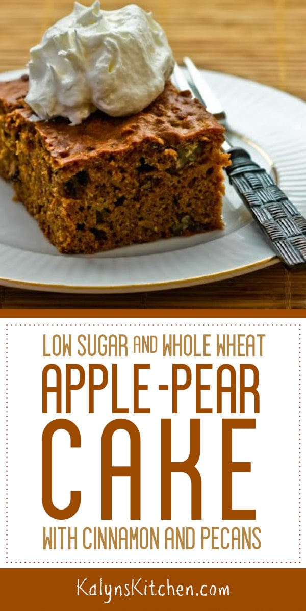 Pinterest image of Low Sugar and Whole Wheat Apple-Pear Cake with Cinnamon and Pecans