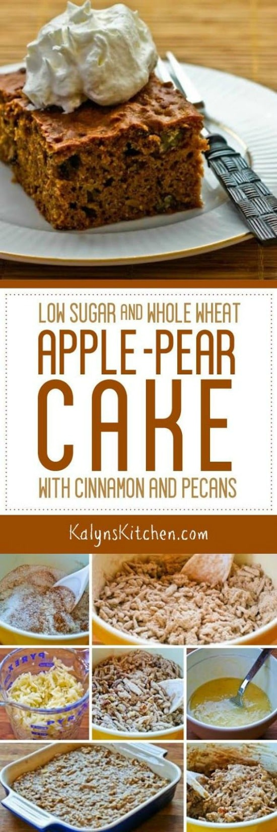Low Sugar and Whole Wheat Apple-Pear Cake with Cinnamon and Pecans found on KalynsKitchen.com