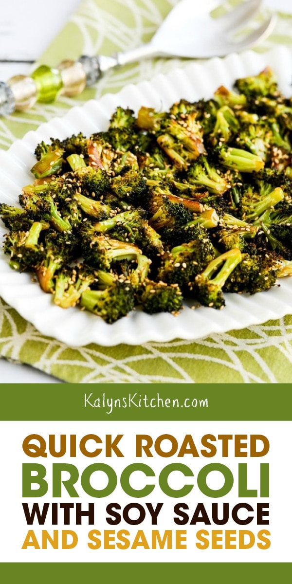 Pinterest image of Quick Roasted Broccoli with Soy Sauce and Sesame Seeds