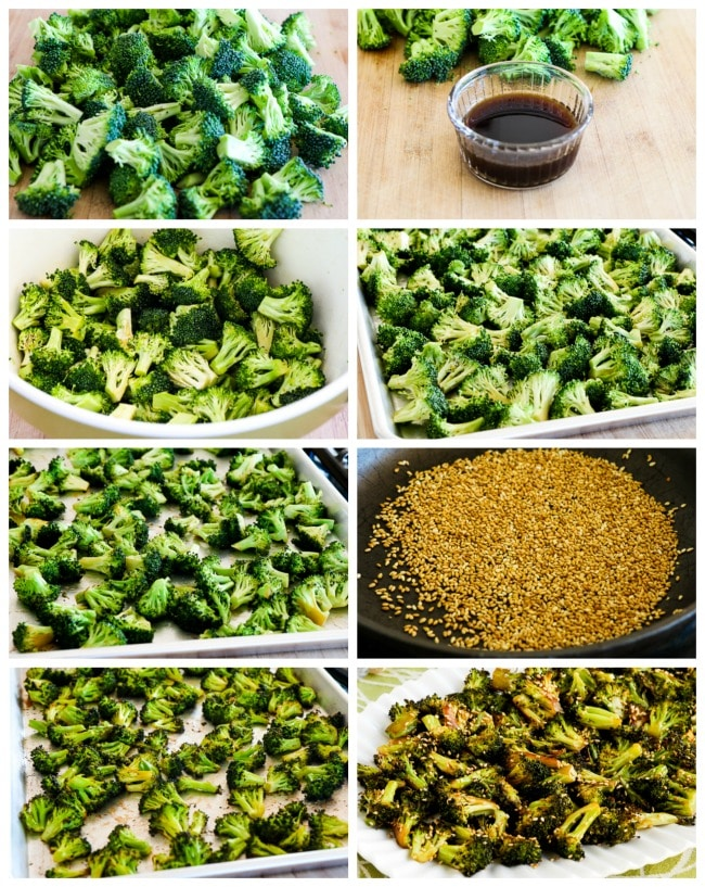 Quick Roasted Broccoli with Soy Sauce and Sesame Seeds process shots collage