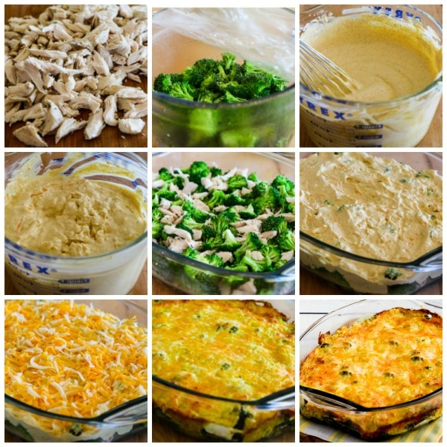 Cheesy Creamy Low-Carb Chicken Broccoli Curry Casserole process photos collage