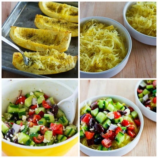 Greek Salad Spaghetti Squash Bowl from KalynsKitchen.com
