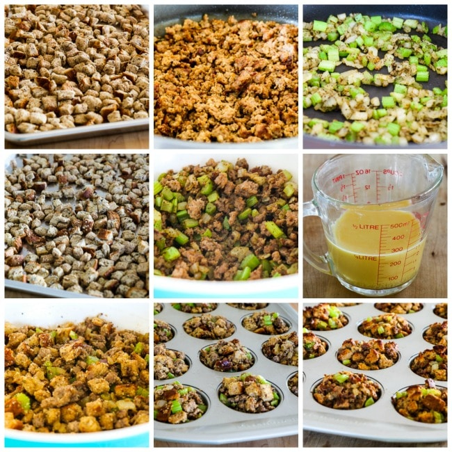 100% Whole Wheat Stuffing Muffins with Sausage and Parmesan process-shots-collage