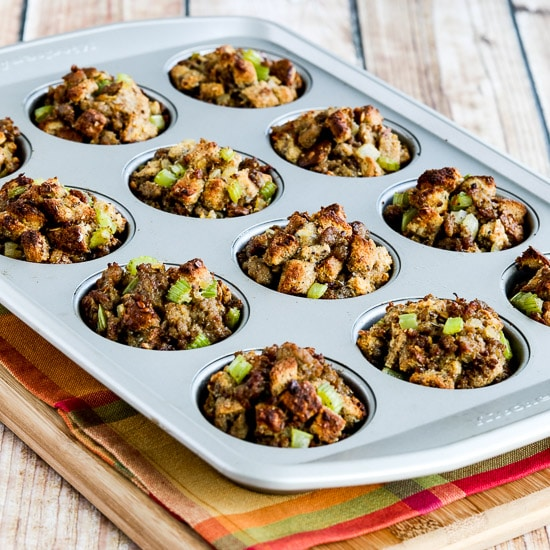 100% Whole Wheat Stuffing Muffins with Sausage and Parmesan found on KalynsKitchen.com