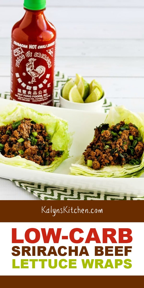 Pinterest image of Low-Carb Sriracha Beef Lettuce Wraps