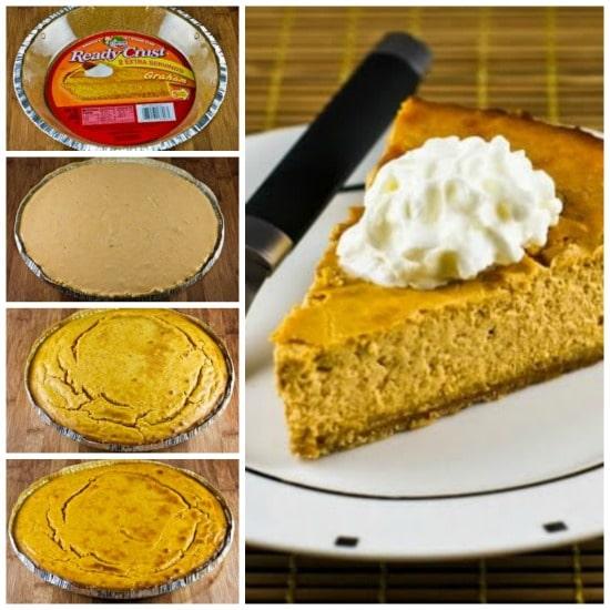 Low-Sugar Pumpkin Cheesecake Pie found on KalynsKitchen.com