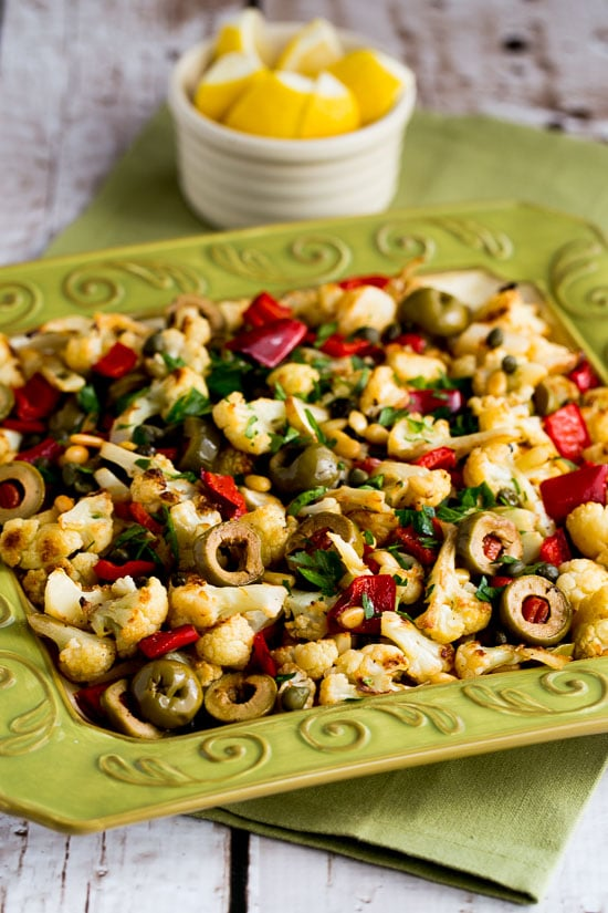 roasted christmas cauliflower with red bell pepper green olives and pine nuts kalynskitchen